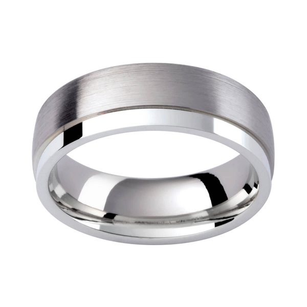 GJ103 men's band in 18k white gold with polished 9k white gold section
