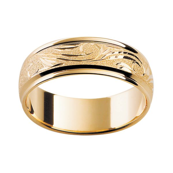 H1 premium hand-engraved men's ring with engraved pattern in a specialty finish