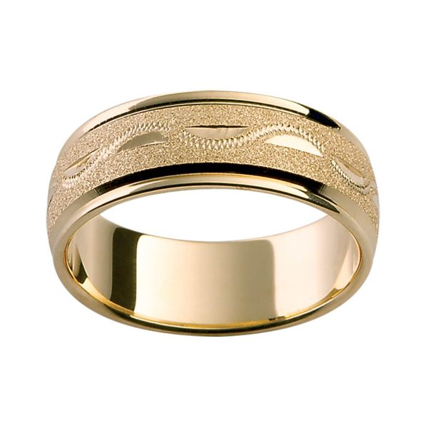 H12 men's wedding band with a specialty finish and hand engravd pattern