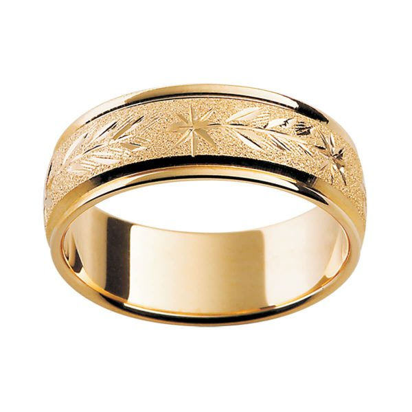 H13 stylish men's yellow gold ring with hand-engraved pattern on a specialty finish