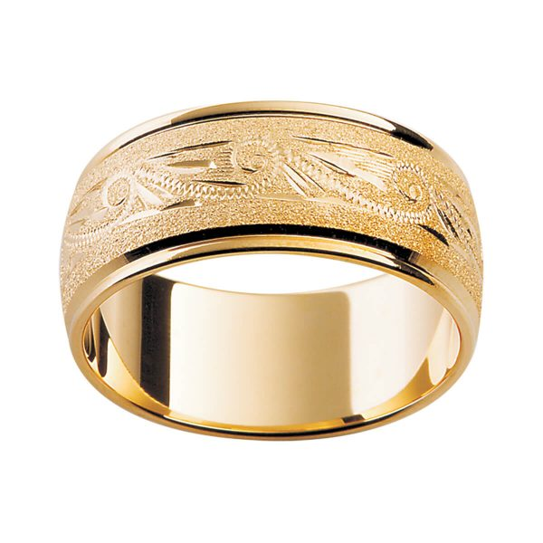 H14 stylish men's yellow gold ing with horizontal hand-engraved pattern on a specialy finish and polish edges