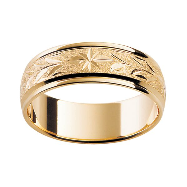 H2 premium 18k gold men's wedding band with hand-engraved pattern in a special finish