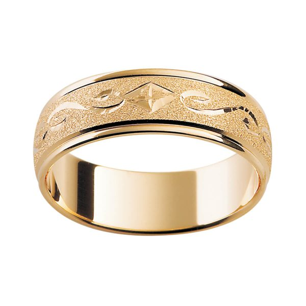 H3 premium men's wedding band with a unique hand-engraved pattern and specialty finish in yellow gold