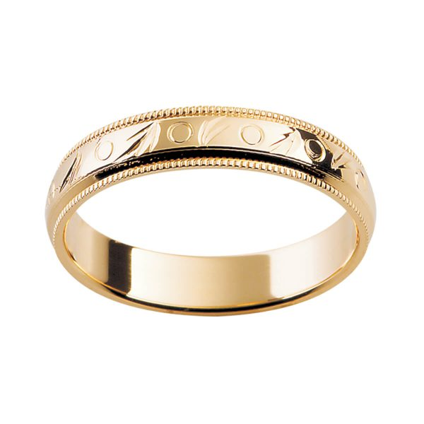 H6 stylish ring with milgrain edge and polished centre section with engraved pattern