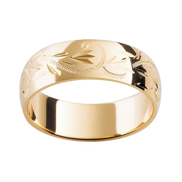 H7 premium gold ring with a hand engraved pattern in polished finish