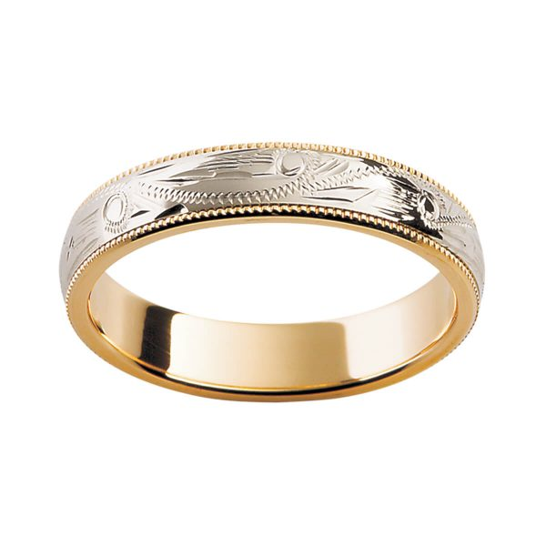H8 stunning two tone ring with hand engraved pattern and milgrain edges