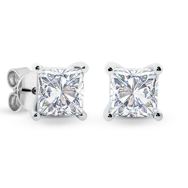 Kim 5.0 2 carat solitaire princess cut diamond earrings