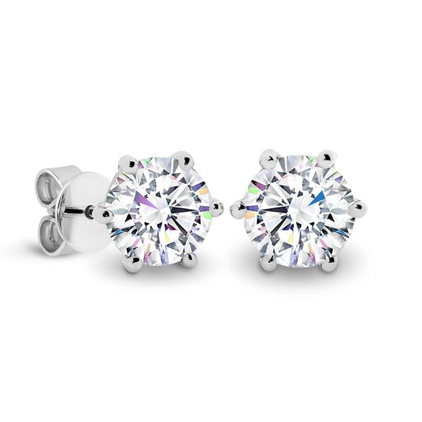 Lin 4.0 round diamond earrings with 6-prongs