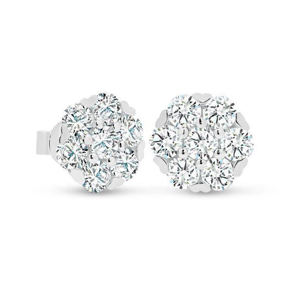 Lucille Moissanite flower shaped cluster stud earrings
