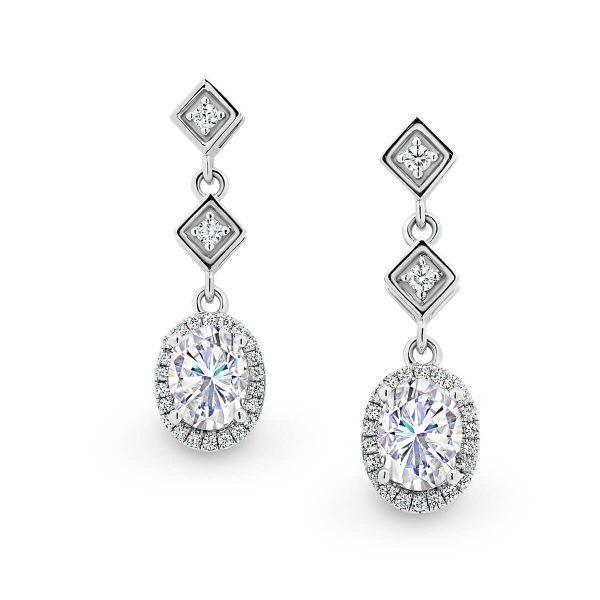Margerie Moissanite earrings formal bridal earrings