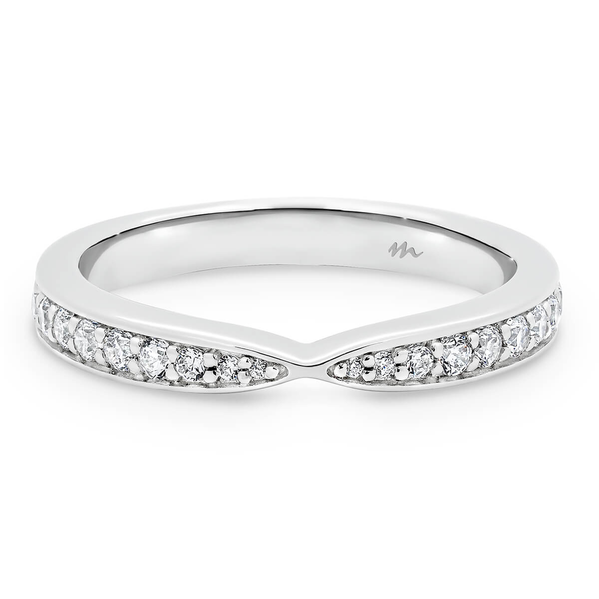 Marie pave set band with tapered centre