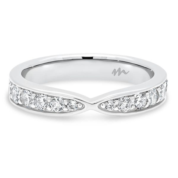 Marie 2.5 pave set tapered wedding band