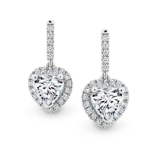 Maya 6.0 heart shaped halo drop earrings