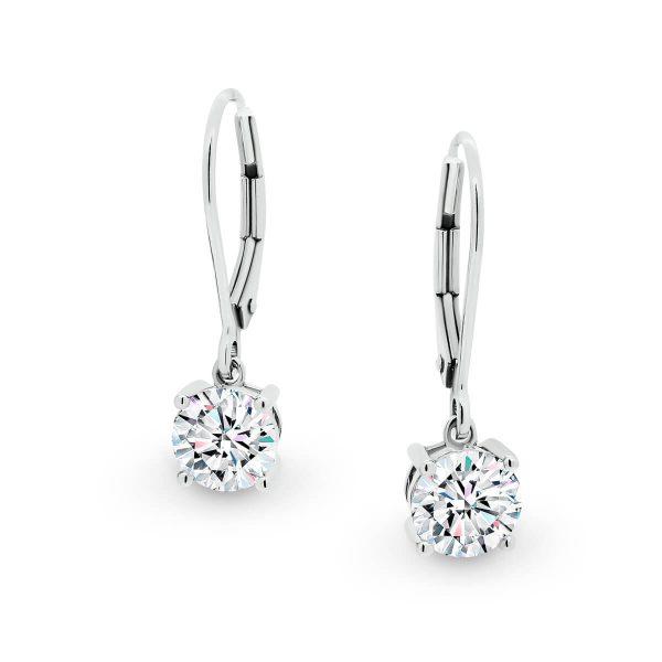 Melinda half carat Round Moissanite earrings with hook design