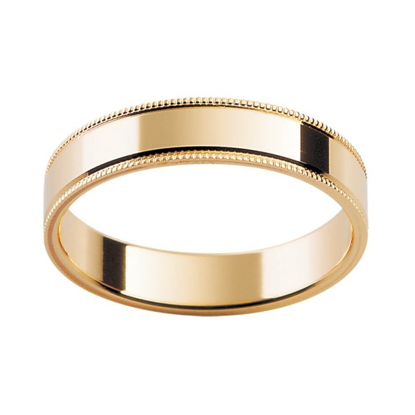 P21 men's wedding band in a flat profile with decorative milgrain edges