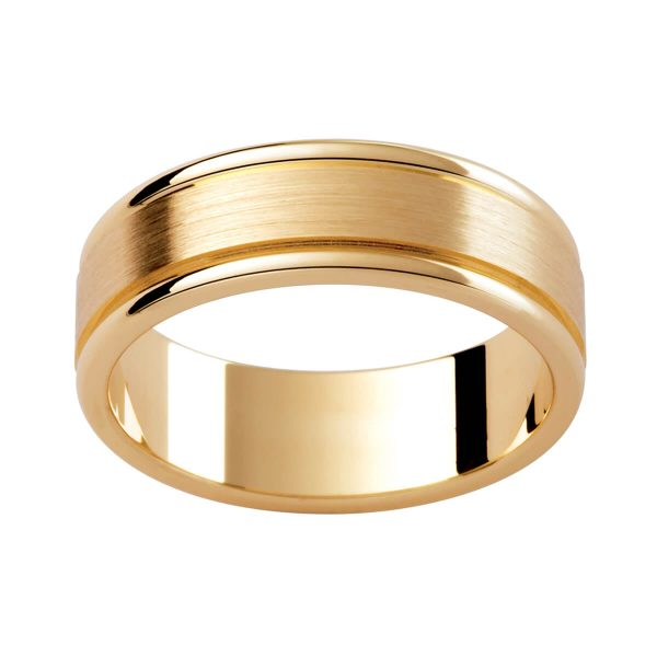 P277 classic men's ring with emery finish and polished edges. Timeless and elegant design