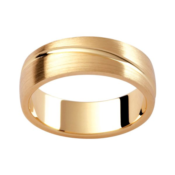 P340 men's ring in a brushed finish with polished groove