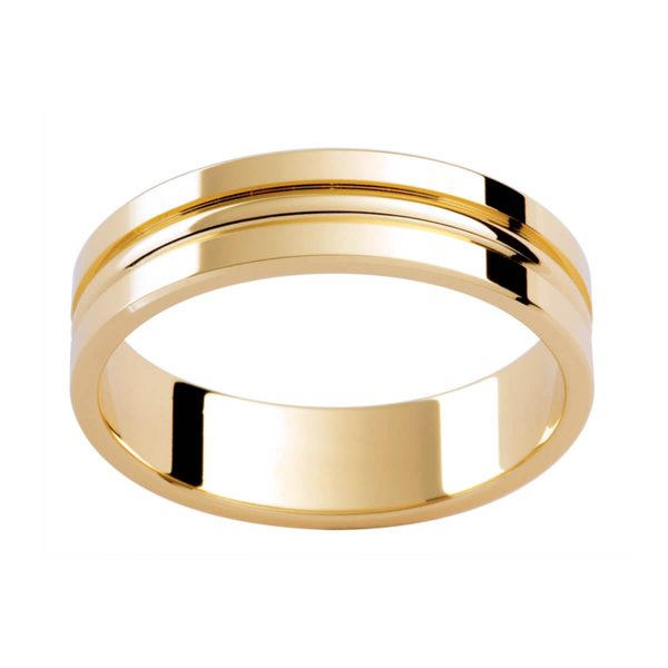 P69 men's wedding band with polished centreline detail in yellow gold