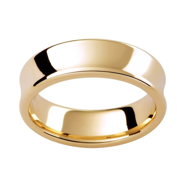 PC303 men's ring with concaved finish with rounded edges.