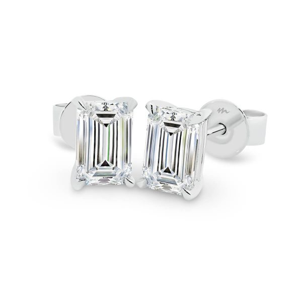 Sandy Emerald cut solitaire Moissanite earrings