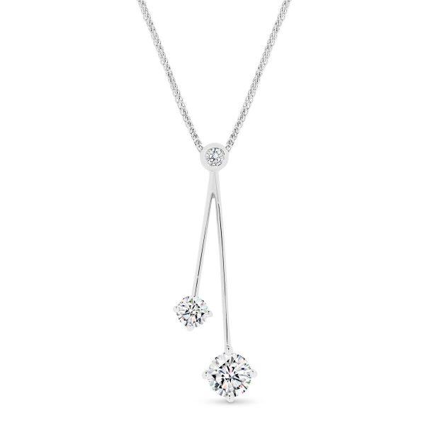Shantelle Moissanite slider pendant with bezel set gems