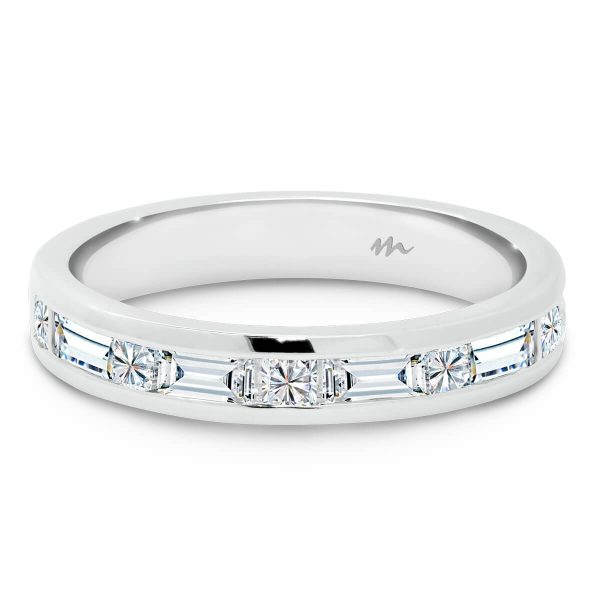 Aternating princess and baguette cut channel set ring
