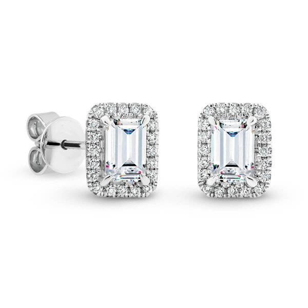 Tiana Emerald cut Moissanite stud earrings with halo