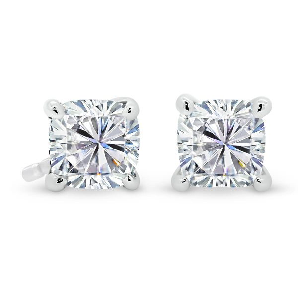 Yumi Moissanite earrings with cushion cut solitaire design
