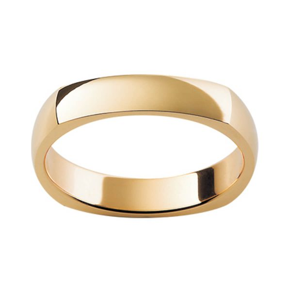 SQ1 men's squre edge plain band in polished gold