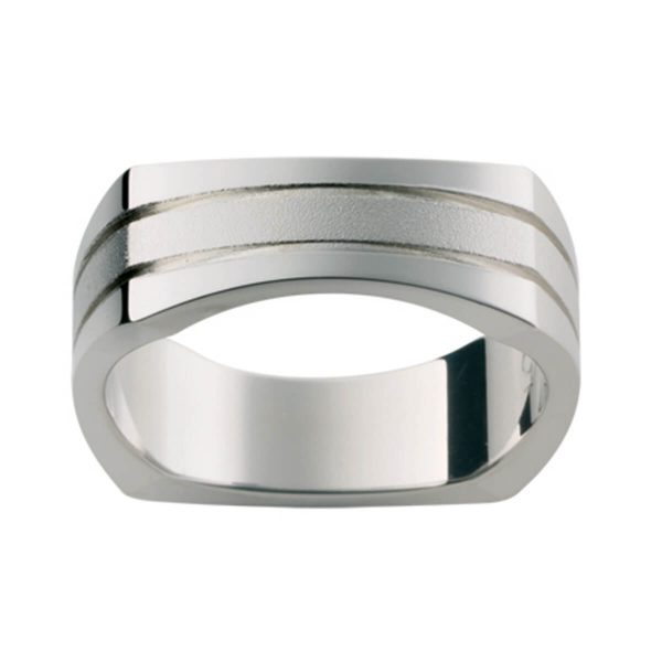 SQ10E men's square-shaped ring with two horizontal grooves