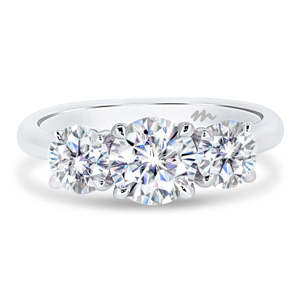 Ayesha 6.5 3 stone round Moissanite trilogy ring