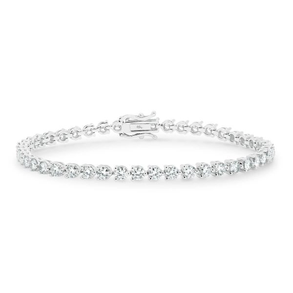 Bernadine' modern 3 prong full tennis bracelet in 18k white gold with safety clasp