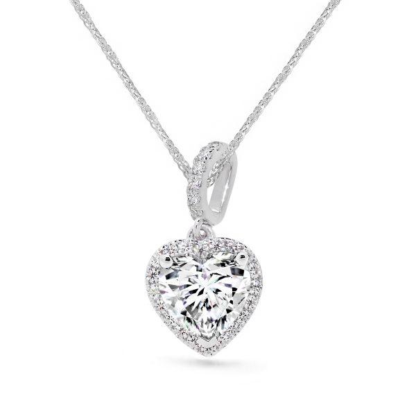 Cora heart halo pendant on stone set bail