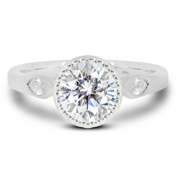 Dalia Vintage Halo Moissanite Ring Front View
