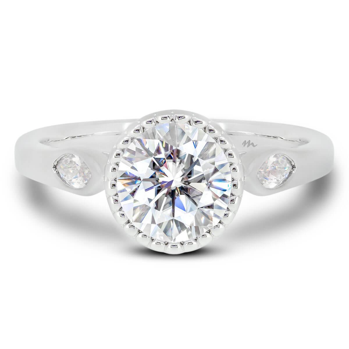 Dalia Vintage Halo Moissanite Ring Front View