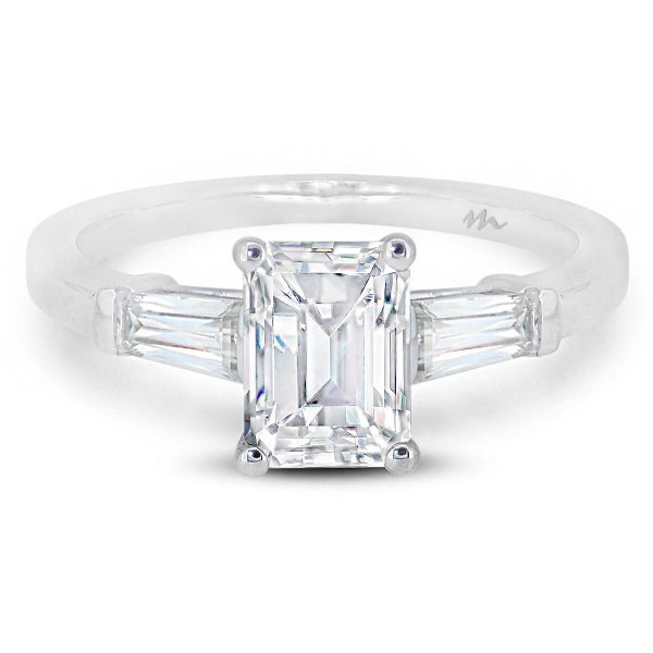 Debbie Emerald cut ring with tapered baguette side stones