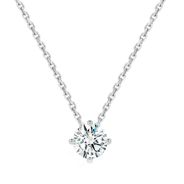 Ellaina 4 prong solitaire floating pendant on chain