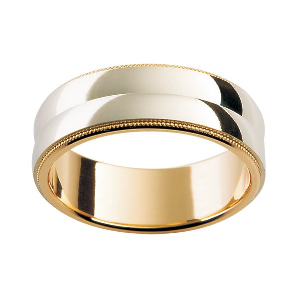 F104 classy men's ring with milgrain edges with faceted overlay centre