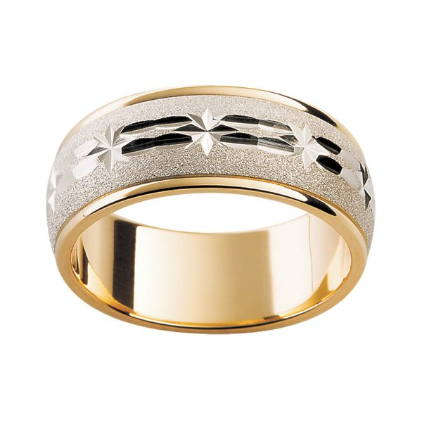 F10M two tone men's ring with full-band engraved star motif on white gold overlay in yellow gold band