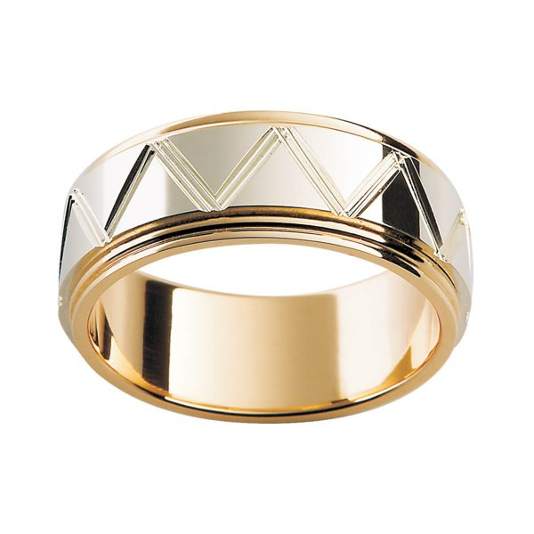 F115M men's ring with engraved geometric pattern on overlay with double step edge