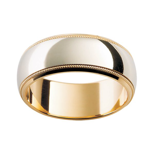 F117 classic men's patterned two tone band with milgrain details and beveled edge