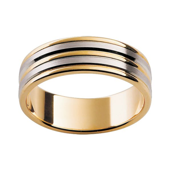 F128 men's ring with alternating two tone and beveled edge inlay