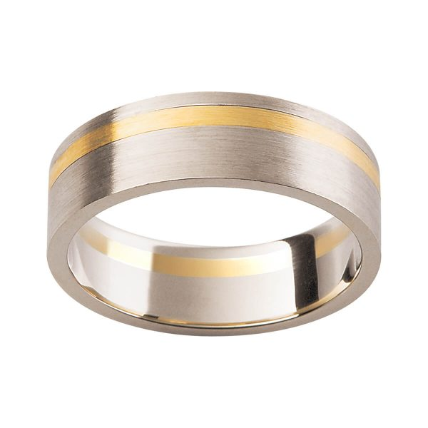 F137 classic men's wedding band in two tone gold with satin-brushed finish and offset contrast strip