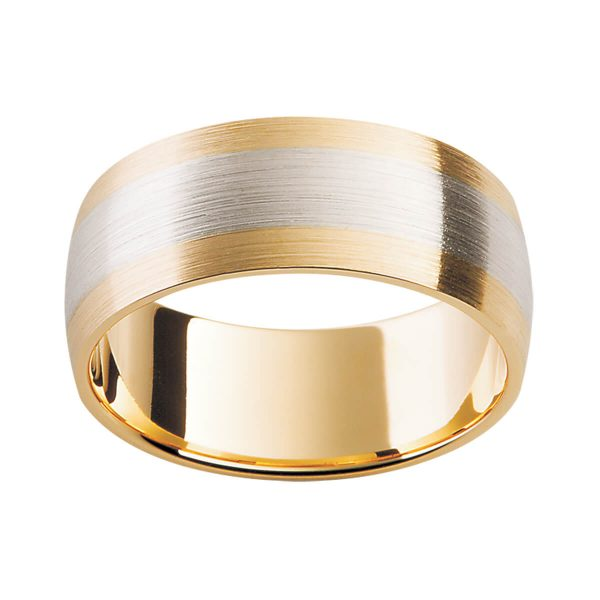 F138 men's wedding ring in two tone gold with contrast center