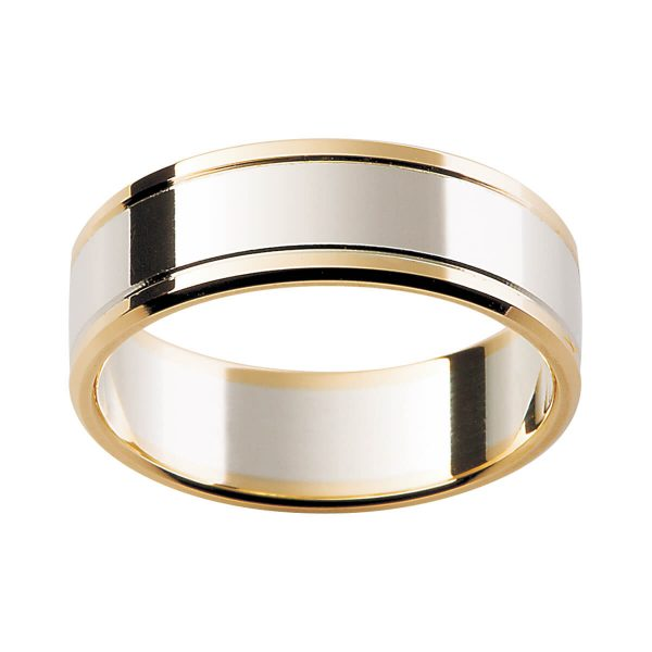 F141 men's ring in two tone polished gold with beveled edge and grooved lines