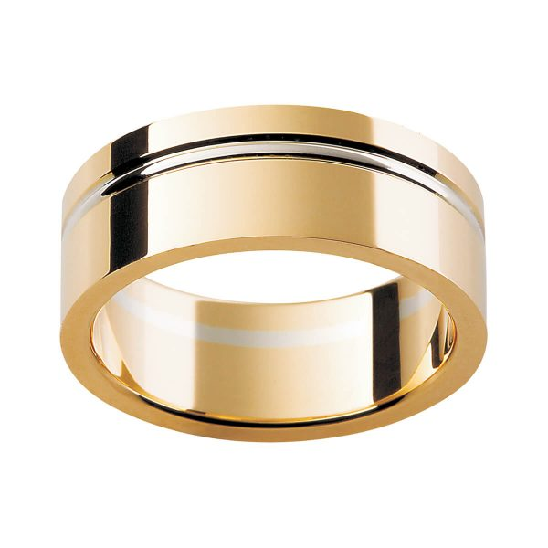 F144 men's ring in high polish finish with offset raised groove