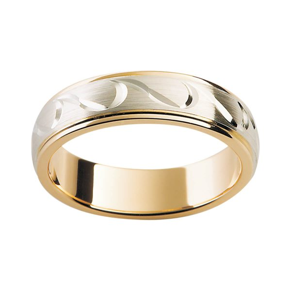 F149M men's band with engraved wave pattern on white gold overlay in yellow gold band