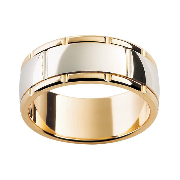 F154M two tone men's wedding ring with vertical grooves in high polished finish