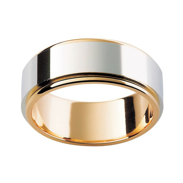 F156 plain men's wedding ring with high polished white gold overlay in yellow gold band
