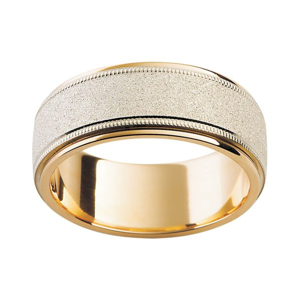 F157M stylish men's ring in specialty finish with milgrain trip and smooth polished edges